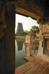 A view of temple tank and gopuram at Uthirakosamangai temple in Ramanathapuram district, Tamil Nadu, south India.