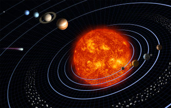 Presentation of the solar system (not to scale)